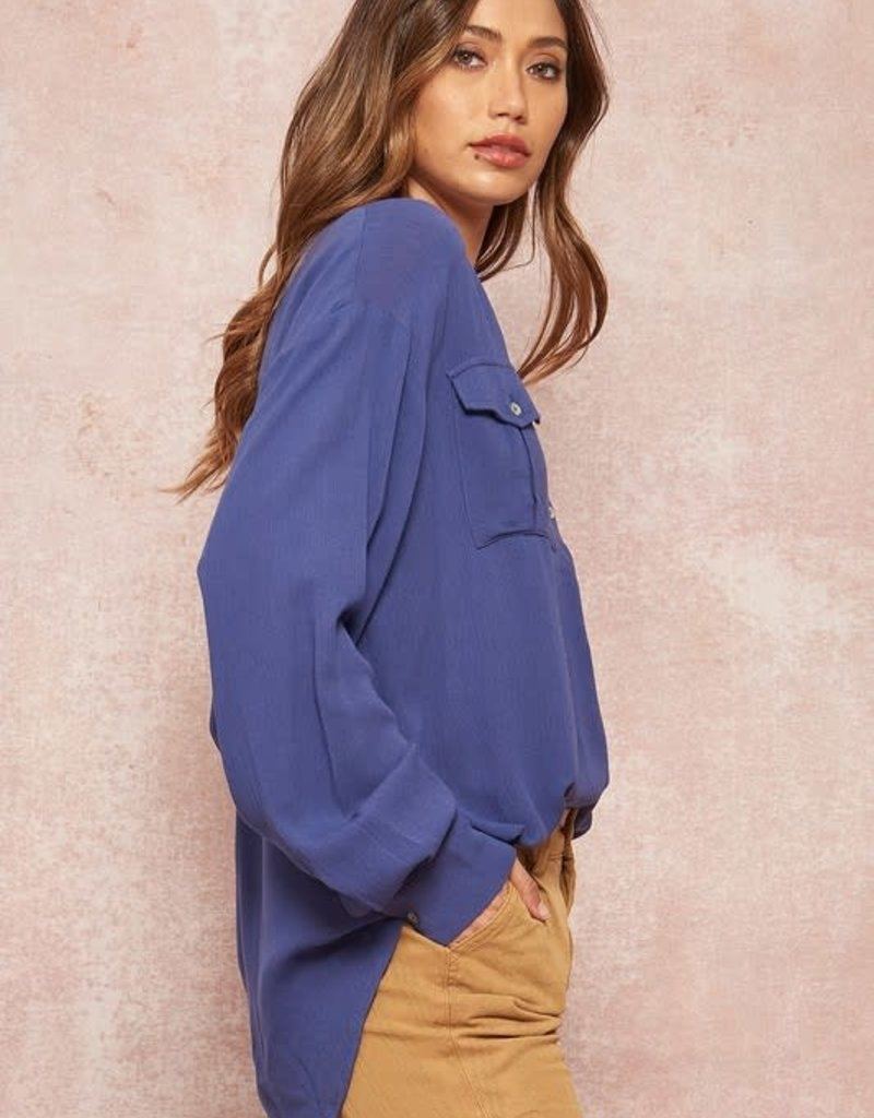 stardust oversized hi lo button up top