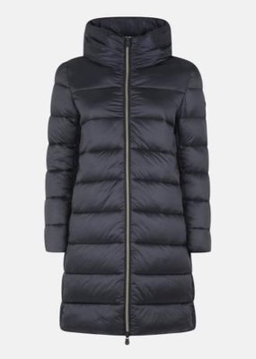 save the duck WOMENS HOODED LONG QUILTED PUFFER COAT IN IRIS STAND-UP COLLAR
