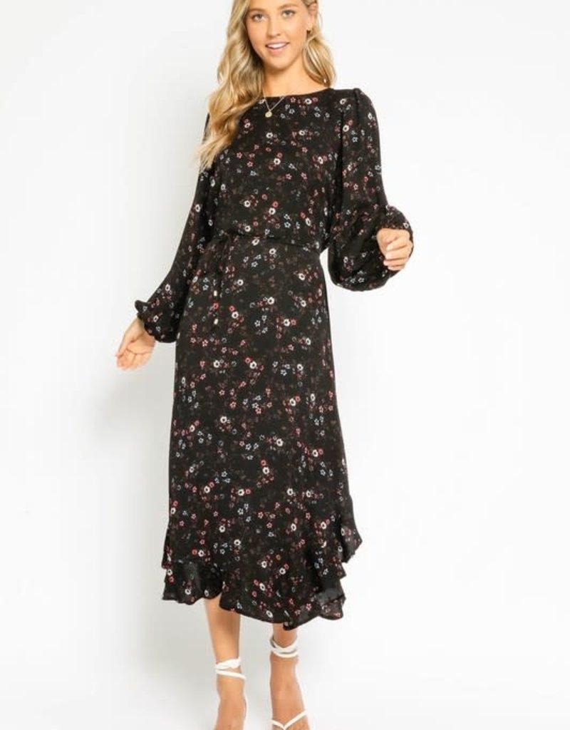 stardust Black Ditsy Floral Maxi Dress L/S