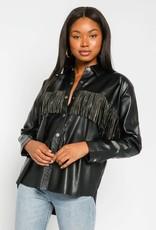 Vegan Leather Sequin Fringe Shirt