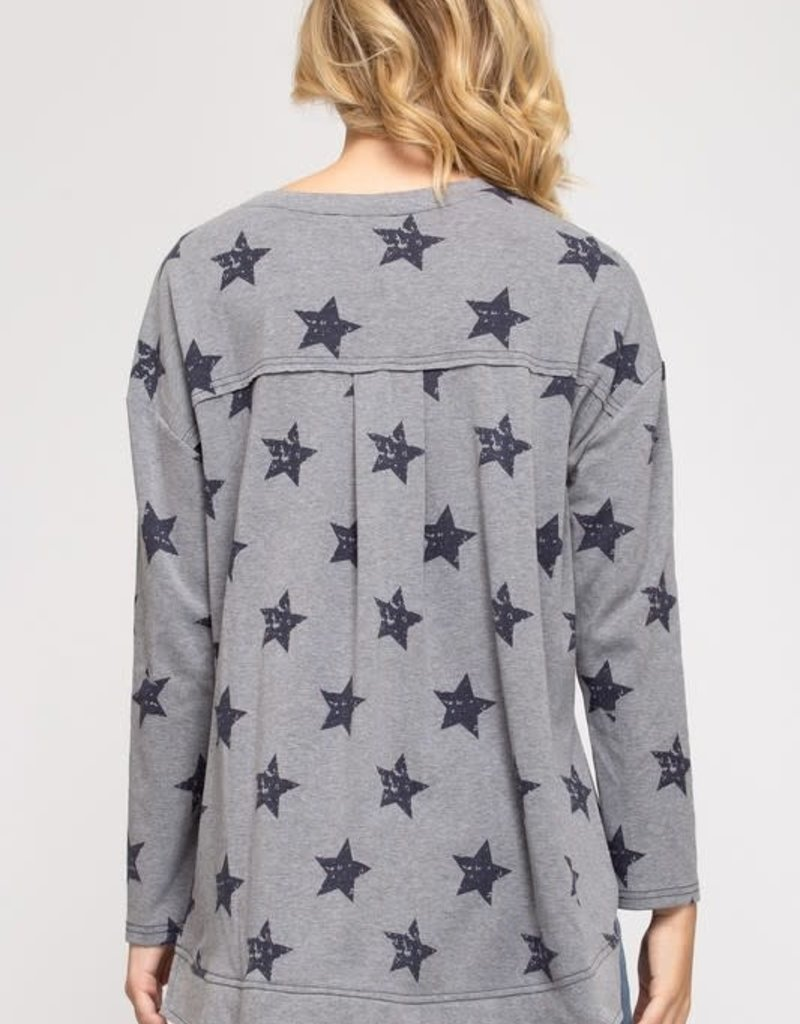 wildflower star printed hi lo long sleeve crew sweatshirt
