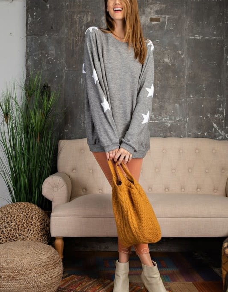 wildflower ultra soft loose fit star patched sleeved crew sweatshirt