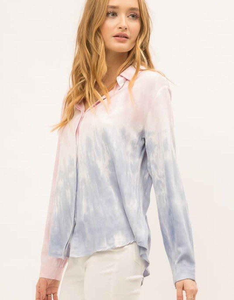 wildflower tie dye rayon button down shirt