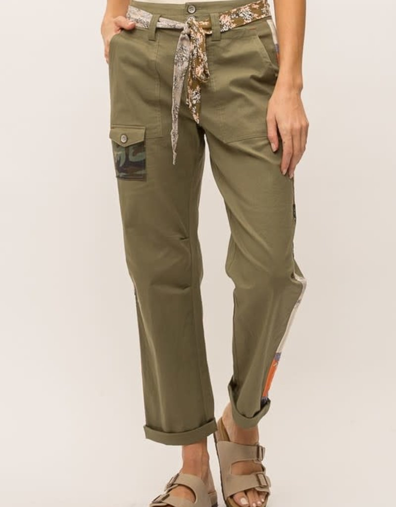 wildflower printed side stripe cotton utility pant