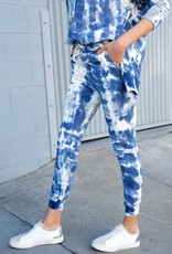 stardust tie dye pullover hoody w/zip side detail and cuffed jogger set