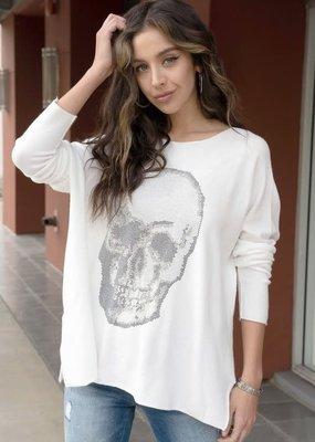 stardust oversized/one size rhinestone skull long sleeve top