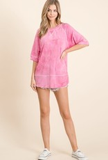 wildflower tie dye s/s top w/raw hem