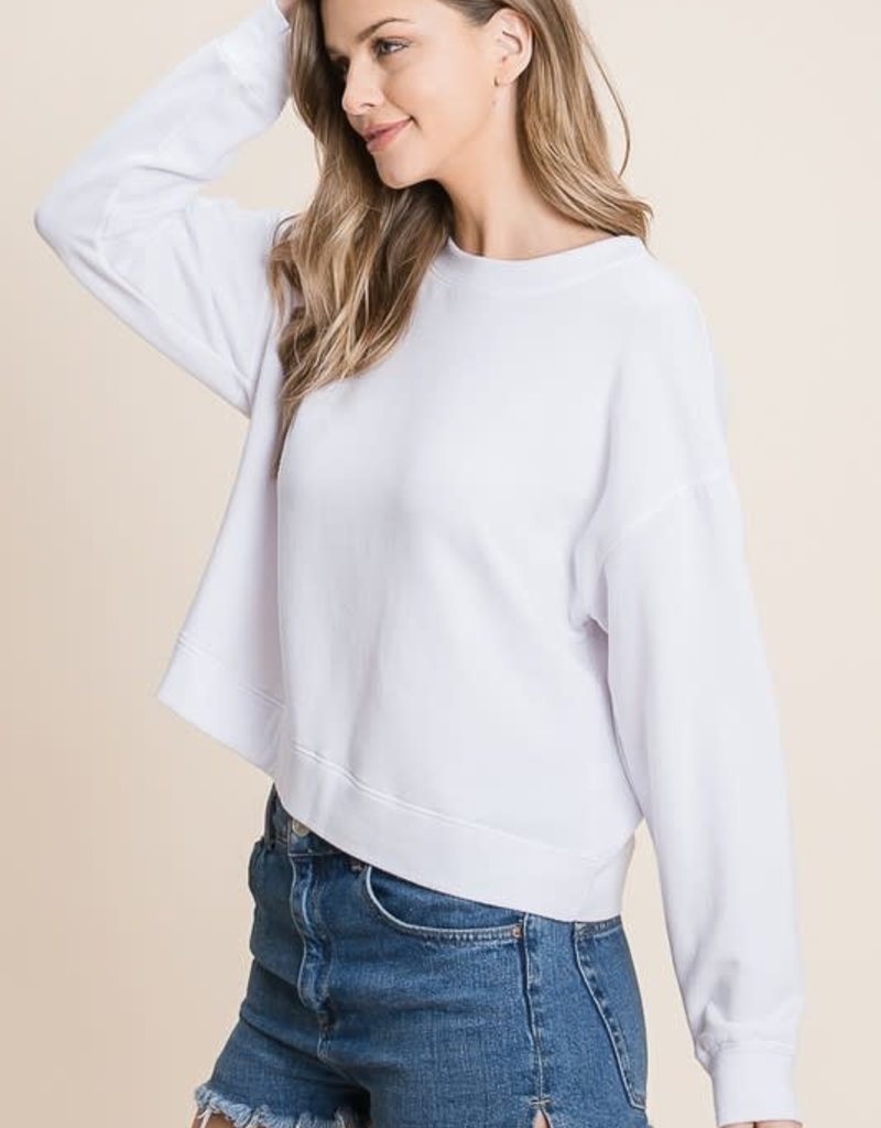 wildflower brushed french terry raglan crew sweatshirt