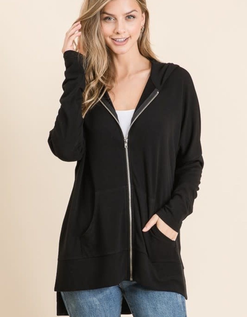 wildflower french terry oversized zip hi lo hoody
