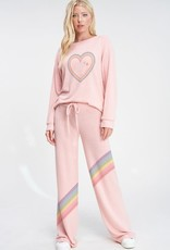 wildflower super soft rainbow heart top w/wide leg pant lounge wear set