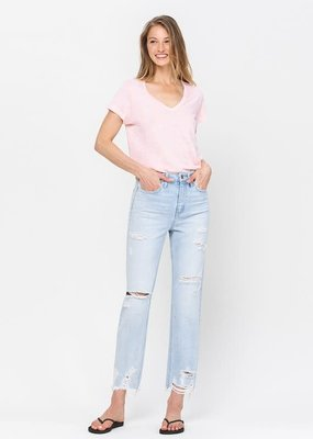 flying monkey high rise distressed raw hem straight denim