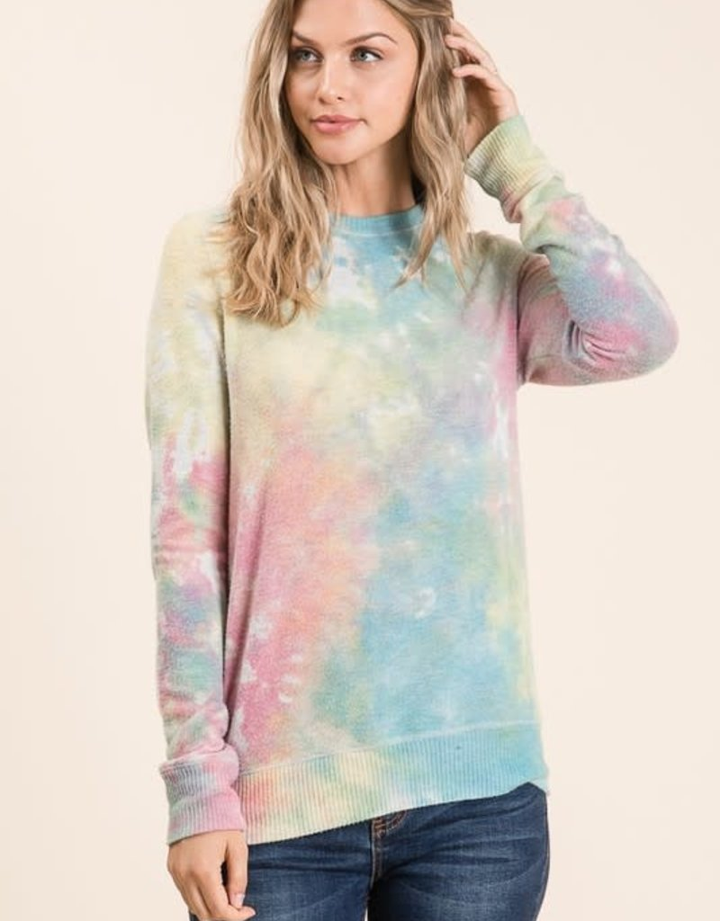 wildflower tie dye soft brushed l/s top
