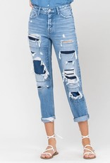 flying monkey button fly patched distressed boyfriend denim