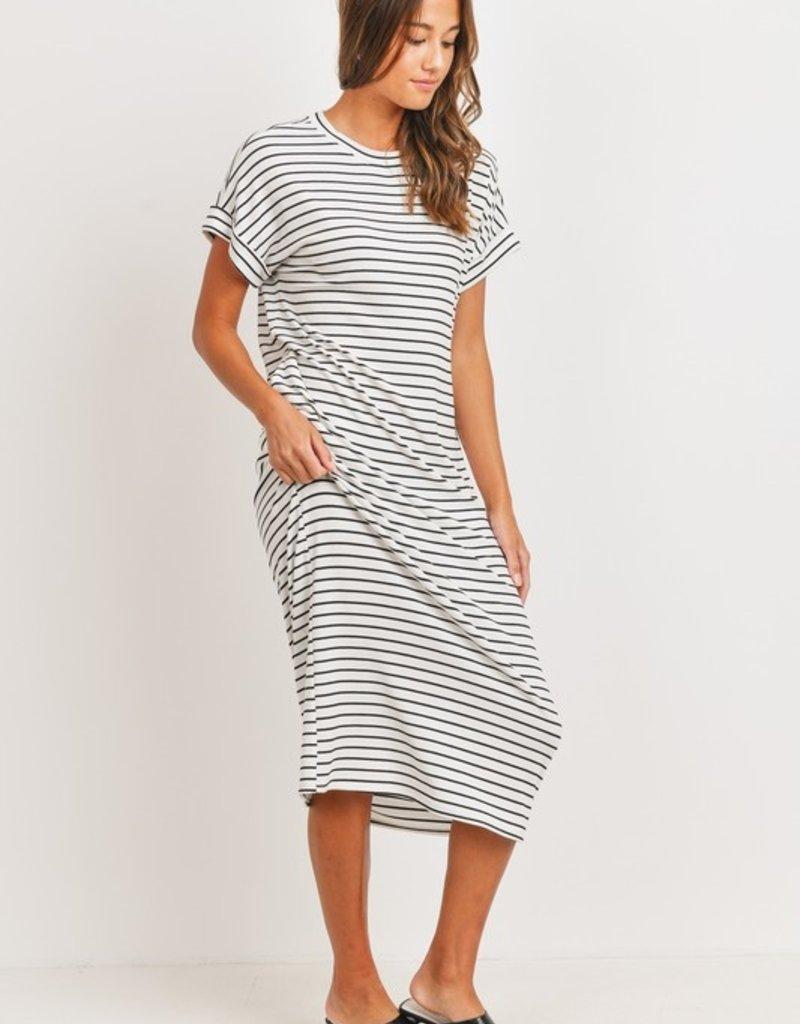 wildflower striped short slv ribbed midi dress