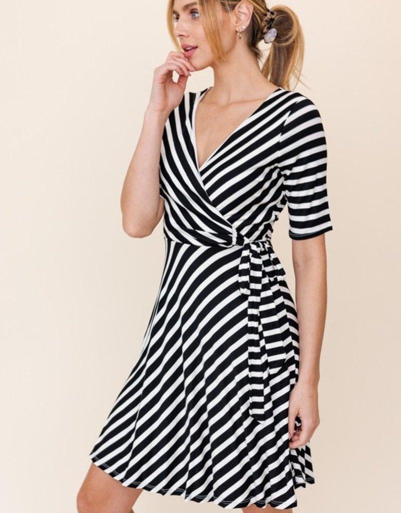 wildflower striped wrap dress
