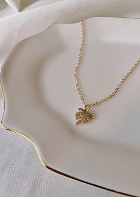 palm tree pendant - 14k gold filled, cubic zirconia