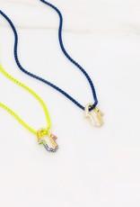 Rainbow Hamsa Necklace w/Cubic zirconia & enamel coloured chain Charteuse