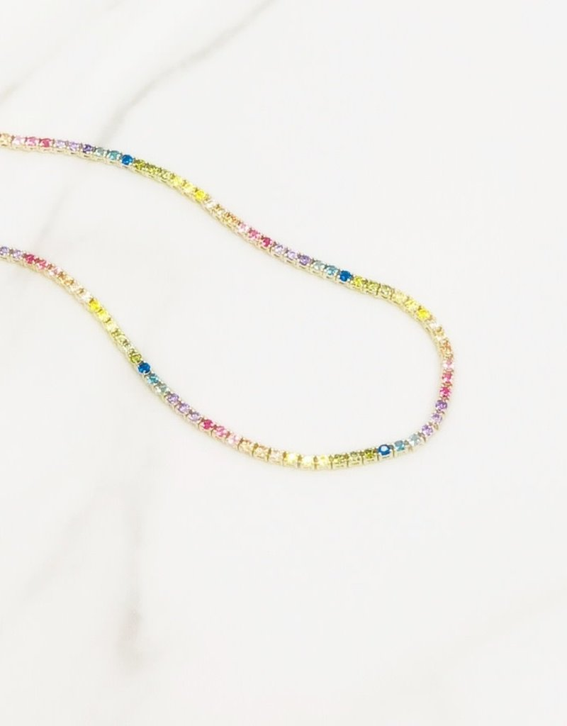 """Stardust Jewellery Rainbow Tennis Necklace 16"""" 14kt Gold over Sterling Silver"""