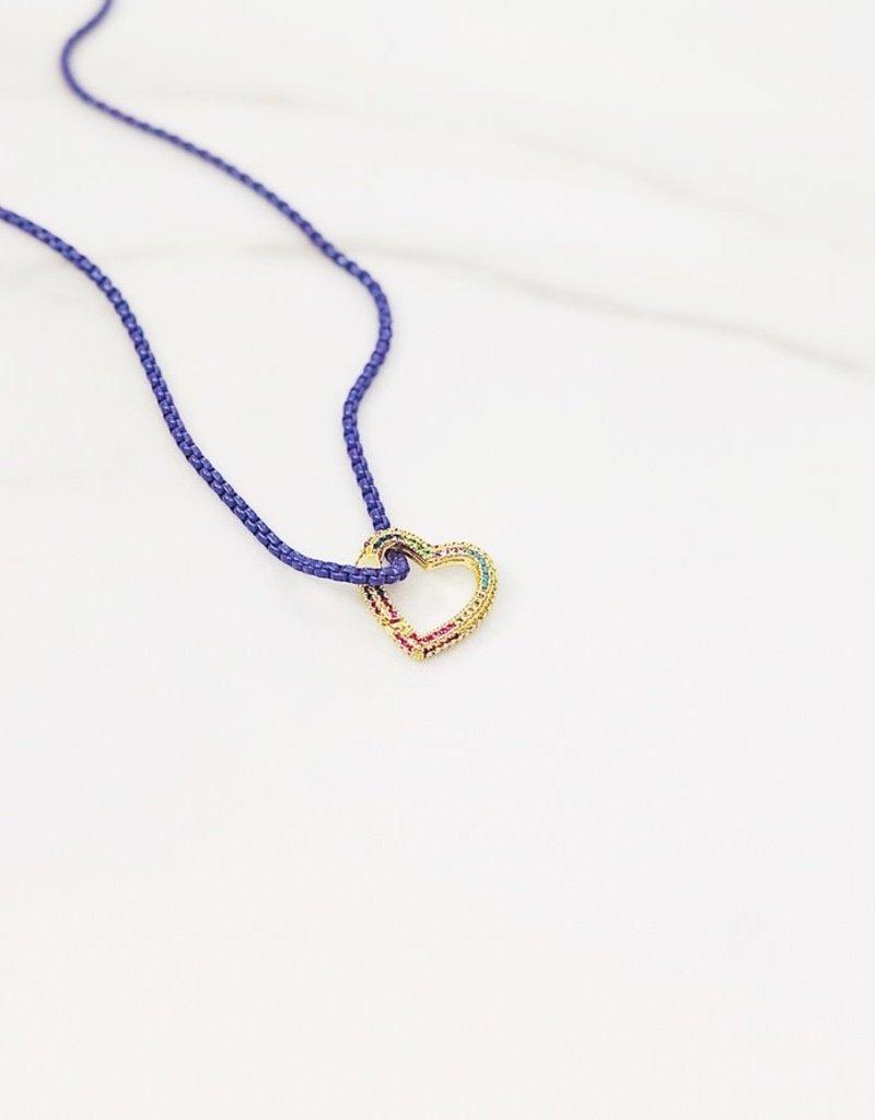 Stardust Jewellery Rainbow Heart  Necklace w/Enamel chain Fuschia