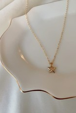 Puffy Star pendant necklace - 14k gold filled , 16-18 inch length