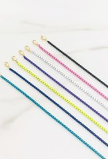 Rainbow Hamsa Necklace w/Cubic zirconia & enamel coloured chain Navy