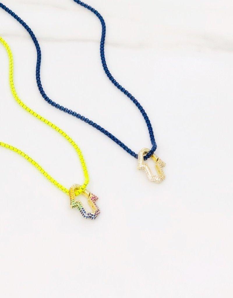 Stardust Jewellery Rainbow Hamsa Necklace w/Cubic zirconia & enamel coloured chain Pink