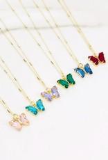 Glass Butterfly Pendant Necklace Blue/Gold