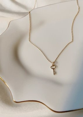 mini key necklace 18 inch and pendant - 14k gold filled