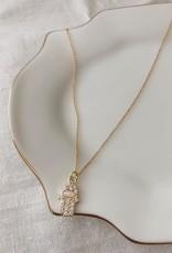 hamsa hand w/opal pendant - 14k gold filled, 18 inch