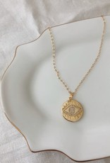 Stardust Jewellery sparkling evil eye coin pendant necklace - 14k gold filled, 18 inch