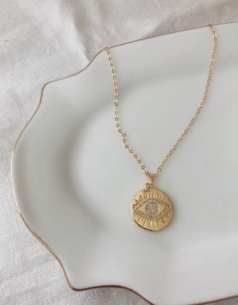 sparkling evil eye coin pendant necklace - 14k gold filled, 18 inch
