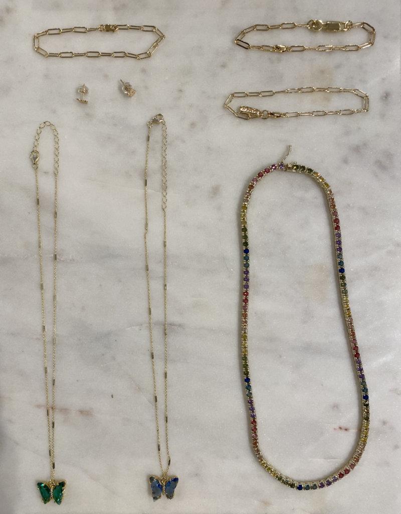 mini butterfly stud earrings - 14k gold filled