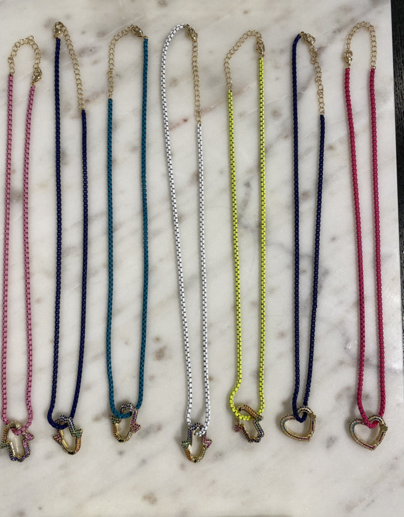 Rainbow Hamsa Necklace w/Cubic zirconia & enamel coloured chain Teal