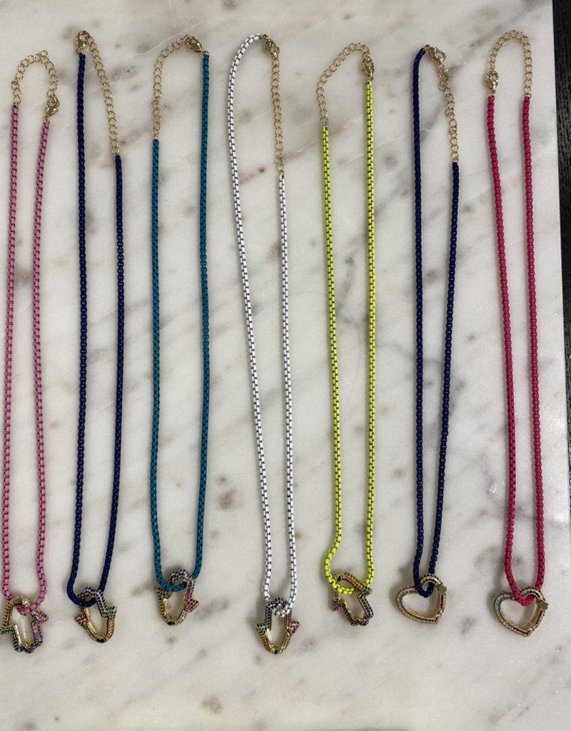 Rainbow Hamsa Necklace w/Cubic zirconia & enamel coloured chain Pink