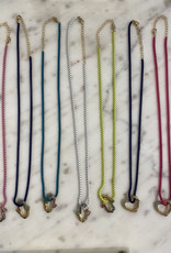 Rainbow Heart  Necklace w/Enamel chain Navy