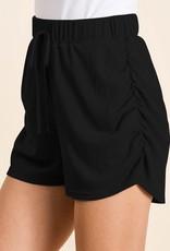 wildflower ribbed shorts w/ruched sides, elasticized waist