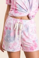 wildflower tie dye terry shorts w/drawstring and side pockets