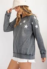 wildflower star print terry sweatshirt