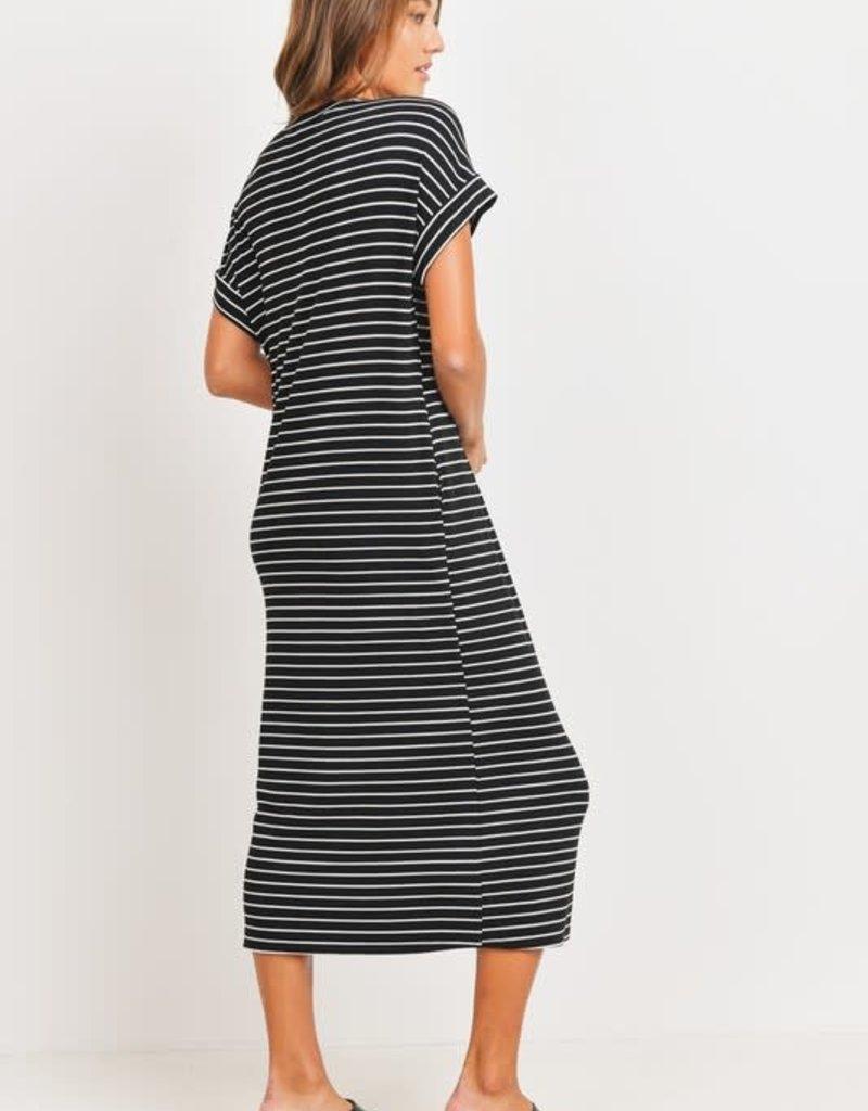 wildflower Striped Ribbed Knit Midi Dress