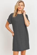 wildflower Short Sleeve Stripe Ribbed Knit Dress