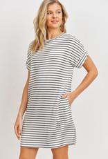 wildflower Short Sleeves Stripe Ribbed Knit Dress