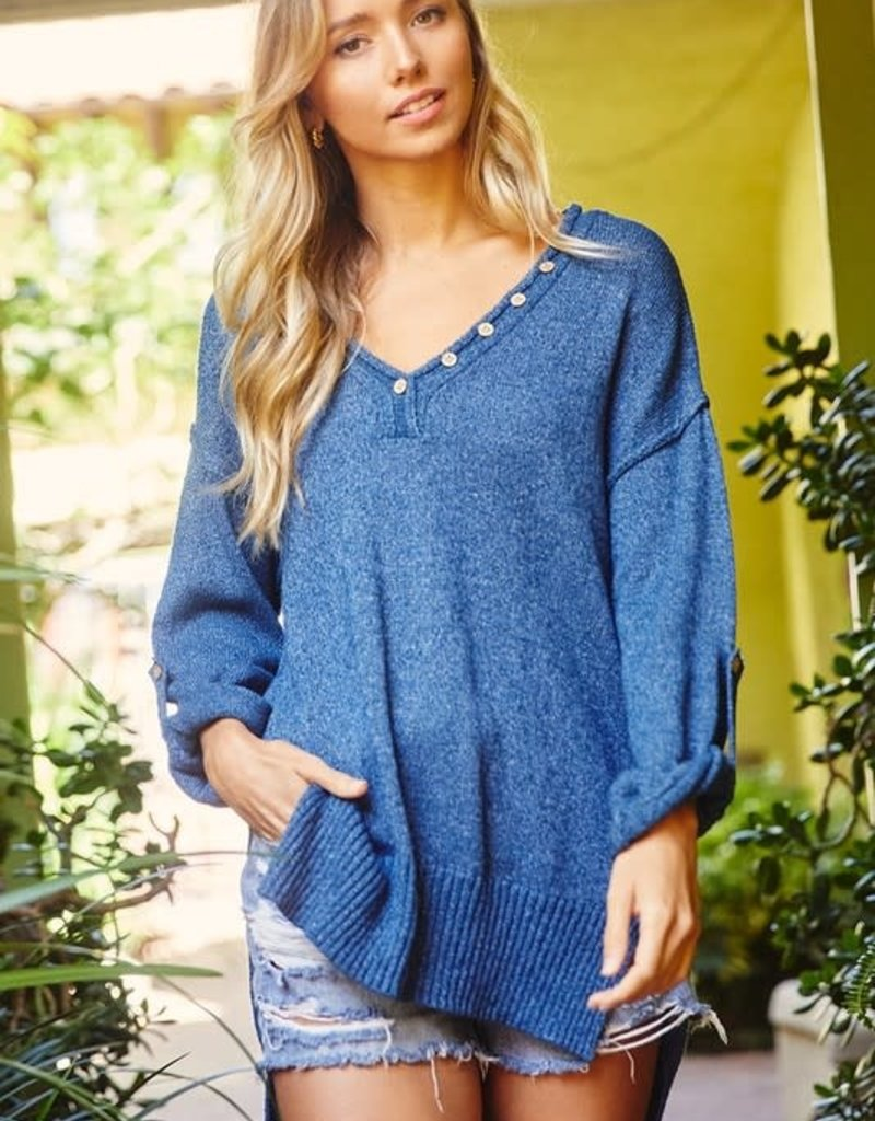 wildflower Roll-up sleeve solid tunic sweater