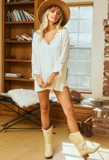 wildflower Roll-Up Sleeve Solid Sweater Tunic