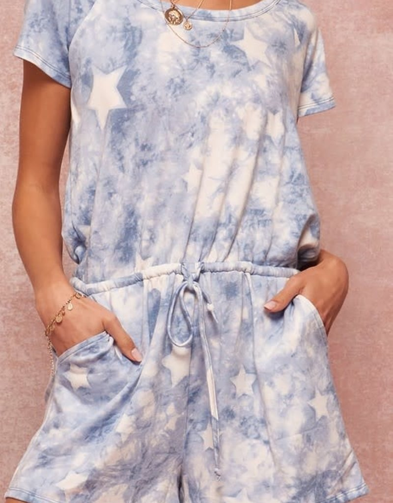 wildflower Star-Pattern Tie-Dye Drawstring Pocket Romper
