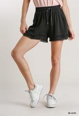 wildflower Layered Frayed Hem Shorts with Pockets