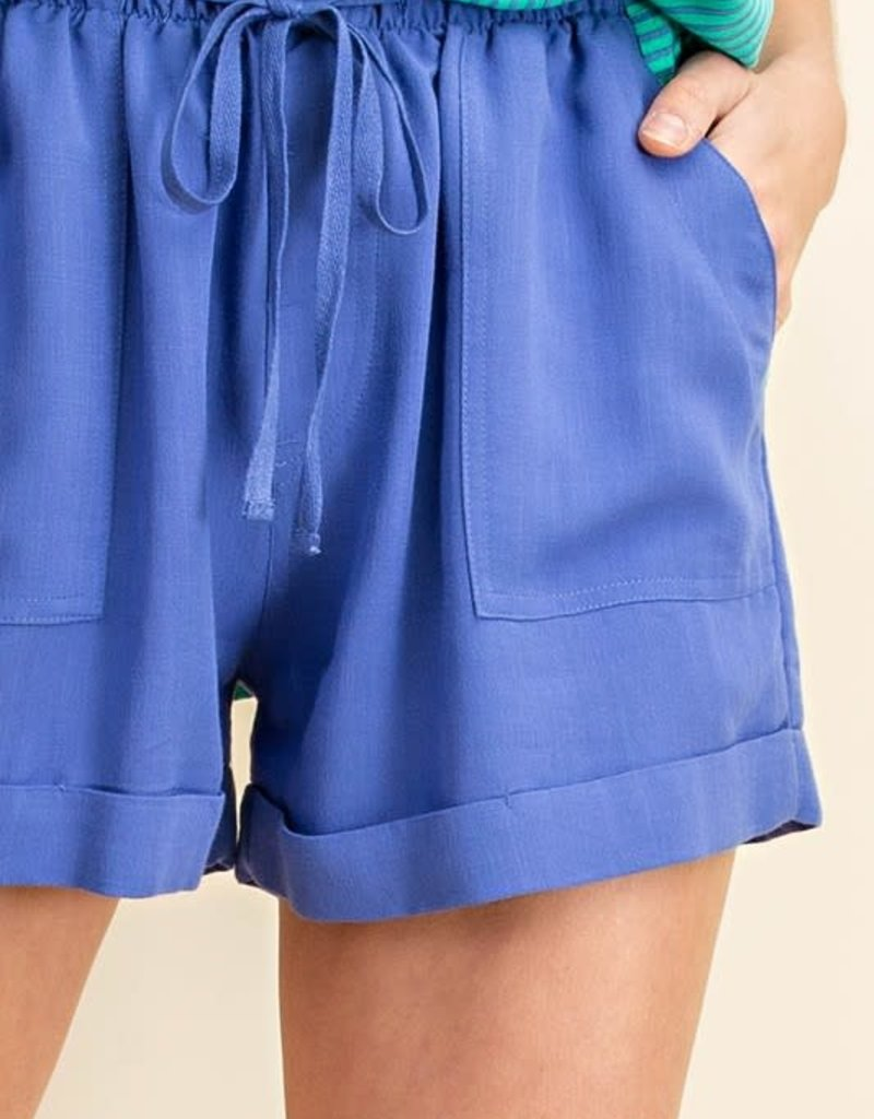 wildflower linen and rayon cuffed shorts