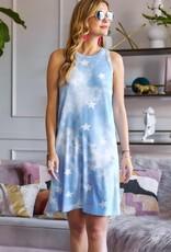 wildflower star printed tie dye dress