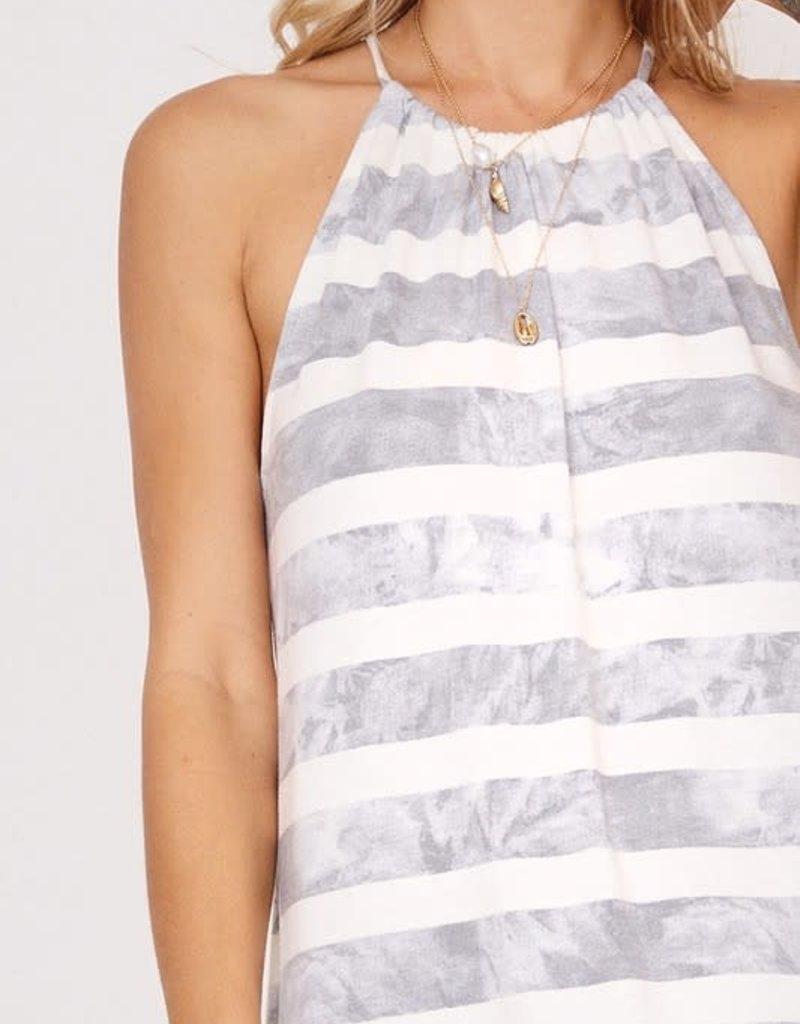wildflower drawstring halter dress with stripes and tie dye