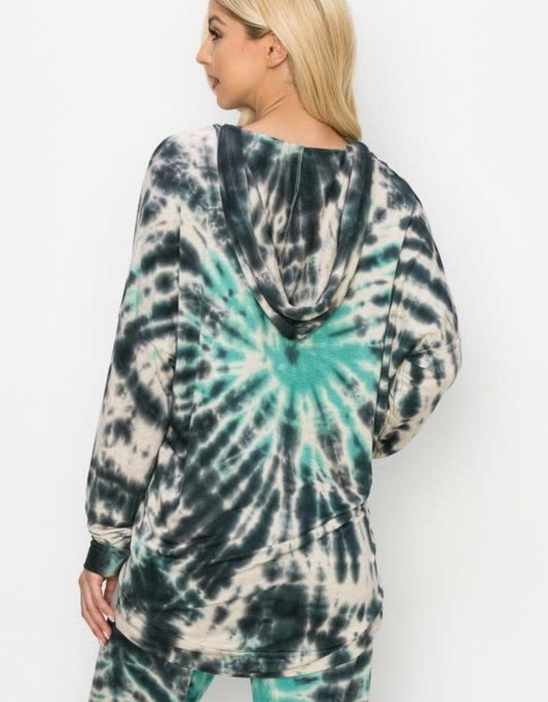 wildflower black and green tie dye hoody