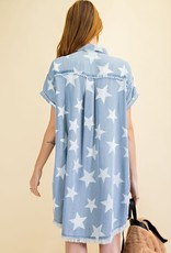 wildflower Twinkle Star Denim  Shirt Dress